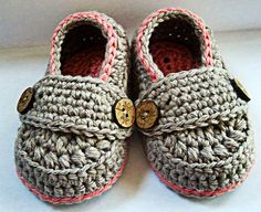 SALE 10% OFF Crochet Baby Girls Booties Organic Cotton Little Button Loafers