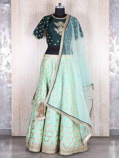 Sea Green Wedding Silk Lehenga Choli