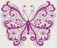 Free Embroidery Design: Fancy Filigree Butterfly