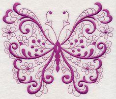 Free Embroidery Design: Fancy Filigree Butterfly