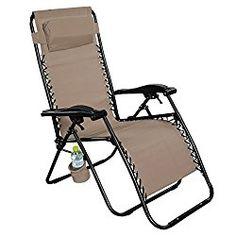 Giantex Folding Lounge Chairs Recliner Zero Gravity Outdoor Beach Patio Garden (Tan)