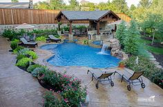 LOVE the outdoor living area at the far end of the pool...what I want for our yard.  Don't want the spa but I do like the elevation and landscaping for privacy.