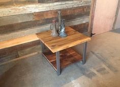 Reclaimed Wood Timber End/Side Table with Shelf by wwmake on Etsy