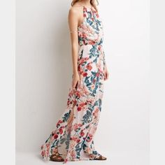 Floral High-Neck Sleeveless Maxi Dress Chiffon-like maxi dress with keyhole front and back. Side splits. Lined underneath. Forever 21 Dresses Maxi
