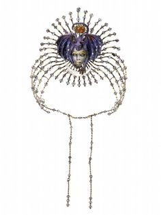 Signed tiara or neckpiece entitled 'Entry of the Queen of the Night (Mozart Series)', in yellow and white gold, carved and inlaid with grey moonstone and mother-of-pearl, by Kevin Coates, London, 1996
