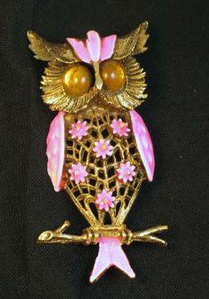 Signed ART Pink Enameled Owl Brooch