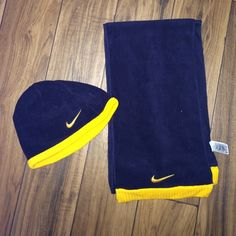 Nike kids beanie and scarf Kids beanie and matching scarf Nike navy blue and yellow Nike  Other