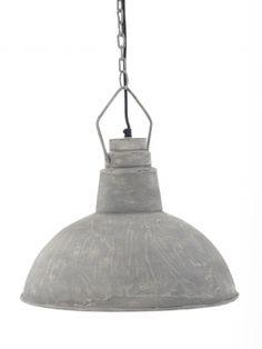 Hanglamp met cementlaag. Geef landelijke sfeer in huis. Prachtig in een woonkeuken, in de hal van een woonboerderij of boven een houten eettafel.