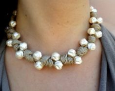 Wedding Jewelry /Linen Necklace with Pearls/One of a от Cynamonn