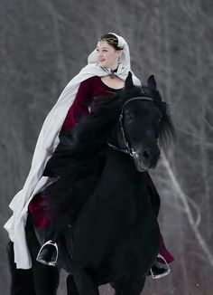 Riding a Friesian or Andalusian in a medieval dress is one of my dreams.