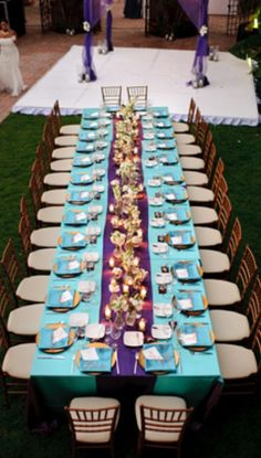 Decorative purple and teal table
