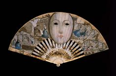 1740s, England for the Spanish market - Mask fan - Paper leaf patched with skin, etched, engraved, and painted in watercolor; pierced, partially painted, varnished and gilded ivory sticks; mother-of-pearl; brass