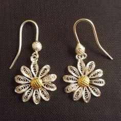 Daisy  silver filigree earrings