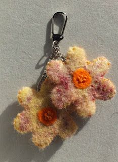 Felt flowers which started off as wool fibres