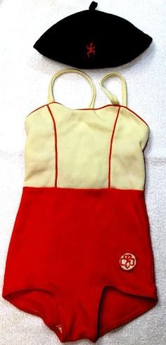 RARE 1960s Brownie Scouts Bathing Suit & Beanie Hat