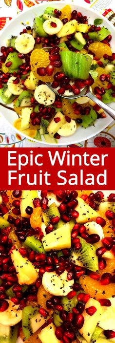 This festive pomegranate winter fruit salad is the best holiday salad ever! Perfect fruit salad recipe for Christmas and Thanksgiving! Christmas Fruit Salad, Winter Fruit Salad, Fruit Appetizers, Appetizers For Party, Fruit Salad Recipes, Fruit Salads, Party Salads, Fruit Party, Dressing For Fruit Salad