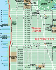 Broadway-Theatre District New York City Streets Map - street location maps of NYC sights, museums, shopping, tours, arts and theatres from MustSeeNewYork.com
