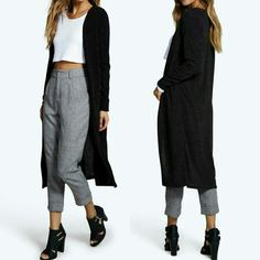 NEW! Black Maxi Sweater/Duster Size S Gorgeous!    Black longline cardigan  Open front Cotton/poly blend  Thicker fabric 97% Polyester 3% Elastane  Machine Washable  Cold Water With Like Colors No Bleach  Low heat to dry or lay flat   Size Small  Boutique  High quality  NWOT Directly From Vendor   I have one and ❤ it!  ❌ No Trades  ✈ Fast Shipping Boutique  Sweaters Cardigans