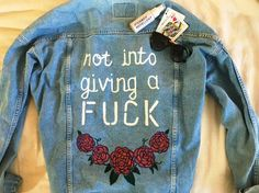 **CUSTOM ORDER** 2017 is the year of Not Giving a F*CK. Made with love in San Diego, California, while listening to Run The Jewels. Painted Denim Jacket, Painted Jeans, Hand Painted, Diy Fashion, Fashion Boots, Hobo Fashion, Denim Art, Bee On Flower, Hobo Style