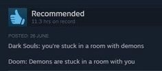 awesome The difference between Dark Souls and Doom : gaming