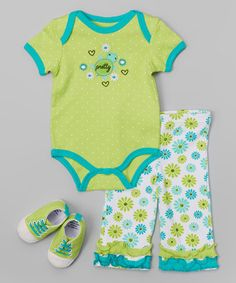 Green 'Pretty' Bodysuit Set - Infant #zulily #zulilyfinds Oh my goodness! I love this little turtle! How Sweet!