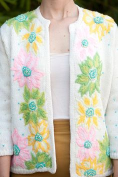 1960s cardigan with large embroidered by CarnivoreCockatiel, $28.00