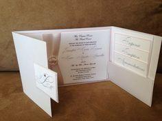 #Wedding #invitation #pearl pocket with #blush colors