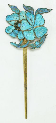 """A Chinese Antique Kingfisher Feather Silver Hair Pin: of Qing Dynasty; Size: L: 5-1/4"""""""