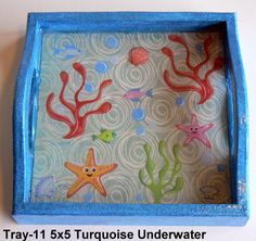 wood tray with an underwater theme sealed in resin. Great for kids! Underwater Theme, Wood Tray, Serving Trays, Handcrafted Jewelry, Magnets, Polymer Clay, Resin, Kids, Handmade Chain Jewelry
