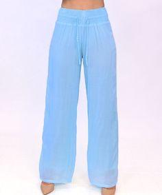 Light Blue Shirred Palazzo Pants