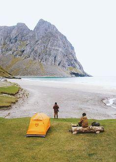 camping at kvalvika beach, lofoten islands, norway