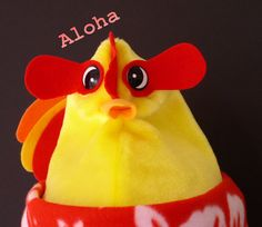CHICKEN HAT Yellow Faux Fur Soft Fleece Aloha Hibiscus by duckpod, $19.95 Chicken Hats, Hibiscus, Faux Fur, Pikachu, Trending Outfits, Yellow, Unique Jewelry, Handmade Gifts, Vintage