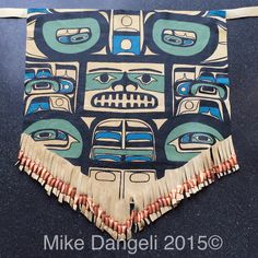 I made & donated this Gwisshalite designed Dance apron for the Education Program at the Nisga'a Museum last time I taught here but felt it was missing something so I added the copper noise makers this trip!  #aboriginal #alaskanative #art #bcfirstnations #firstnations #leather #dance #mikedangeli #nisgaa #nisgaaart #nisgaamuseum #painting #regalia #laxgaltsap #westcoast #westcoastart #apron #gwisshalite