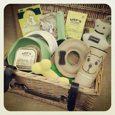 Our lovely #puppy collection in a traditional wicker hamper