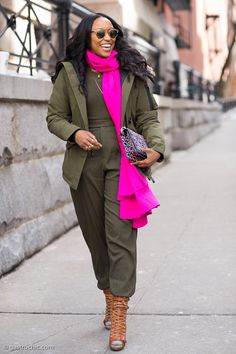 Olive is one of fall's hottest colors. Try wearing it with a pop  of hot pink or cobalt.