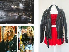 Punk black Genuine Leather Jacket  Original by VintageVanillaShop