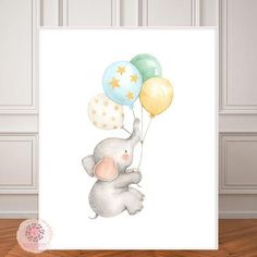 Boho Elephant Nursery Wall Art Print Balloons Stars Moon Ethereal Baby Girl Boy Gender Neutral Whimsical Zoo Animal Printable Decor - My Website 2020 Nursery Drawings, Nursery Paintings, Nursery Wall Art, Girl Nursery, Moon Nursery, Girl Paintings, Baby Wall Decor, Princess Nursery, Diy Wall