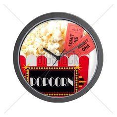 Popcorn And Tickets Wall Clock on CafePress.com