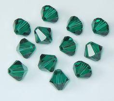 Swarovski 5301 / 5328 8mm Emerald Green Bicone by BestBuyDesigns