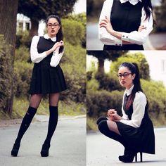 Knee High stockings  Black white collar schoolgirl dress