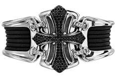 Scott Kay Black Spinel Cross & Sterling Silver Cuff Bracelet