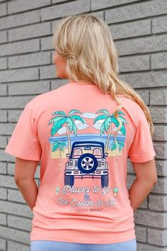 Jadelynn Brooke short sleeve t-shirt. Places to Go Ice Cream To Eat Jeep - V-Neck - Short Sleeve