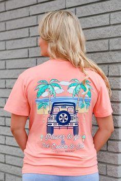 Jadelynn Brooke short sleeve t-shirt. Places to Go Ice Cream To Eat Jeep - V-Neck - Short Sleeve