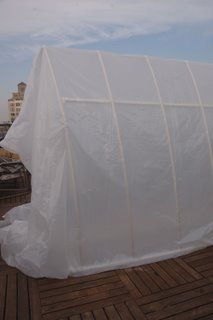 Make your own greenhouse out of PVC pipes.