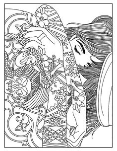 Free Coloring Page Woman Tattoos A With