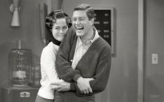 """Curlers in Her Hair: 1963.  Mary Tyler Moore with Dick van Dyke on the set.  Part of a photo essay in Look magazine entitled, """"America's Favorite TV Wife."""""""