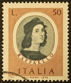 ITALY - CIRCA 1974  A stamp printed in Italy shows image of Raphael   1483 - 1520 , famous italian painter of the high renaissance  Italy, circa 1974 Stock Photo - 14939266