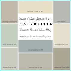 paint colors Silver Strand, Mindful gray, Oyster Pearl, Passive Gray, and Intellectual Gray Mindful Gray, Farmhouse Paint Colors, Paint Colors For Home, Paint Colours, Fixer Upper Paint Colors, Neutral Colors, Home Interior Colors, Interior Ideas, Hgtv Paint Colors