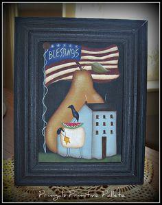 Primitive Americana Flag Saltbox House Pear Sheep 5 x 7 by Primgal
