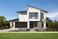 Ridge facade is available on the Montessa Series: Image shows Ridge Façade on the Montessa Design Your Home, New Home Designs, House Design, Canopy Rangehood, Henley Homes, Colorbond Roof, Stacker Doors, Double Storey House